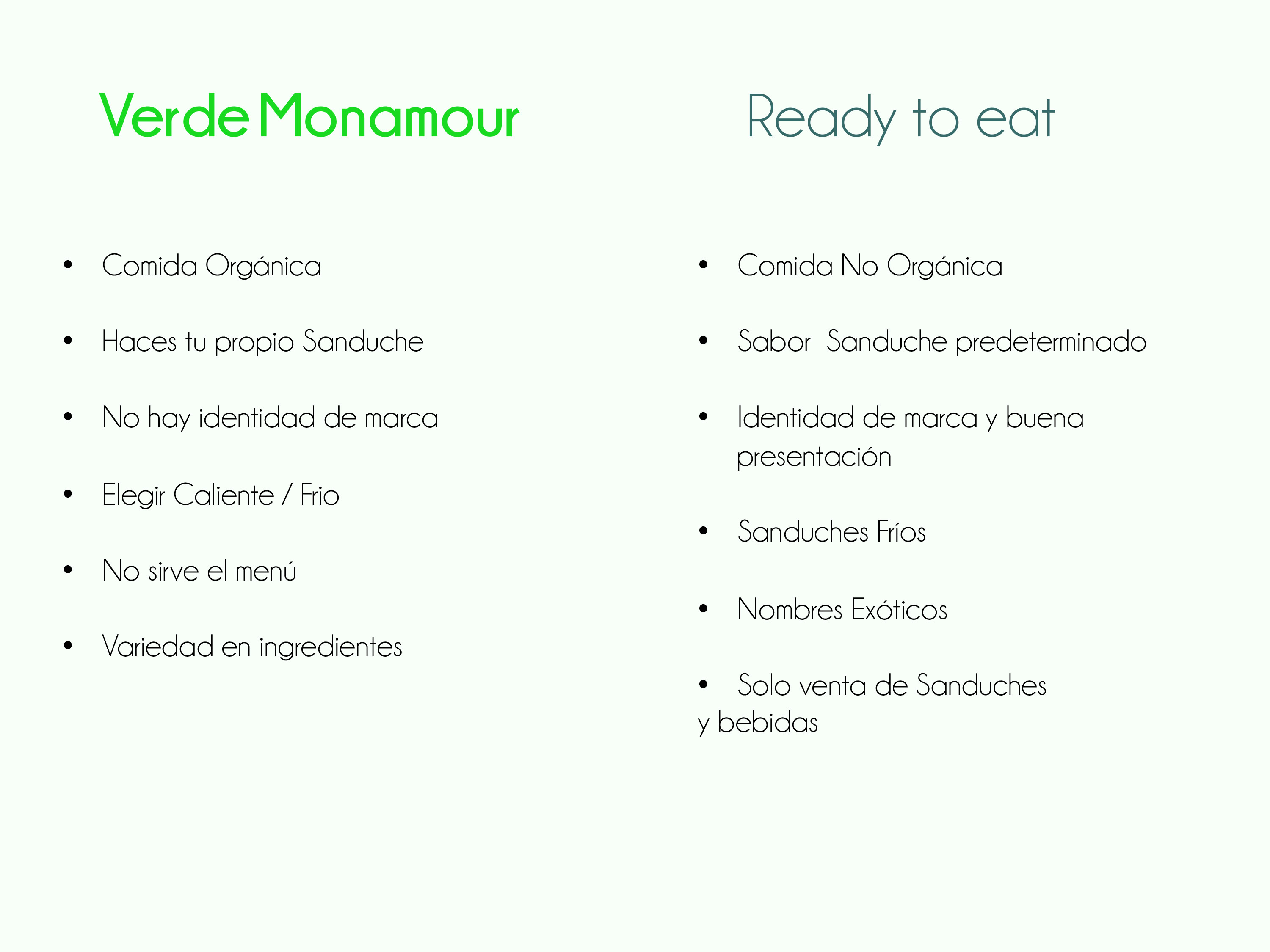 Verde Monamour - Ready to eat Conclusiones