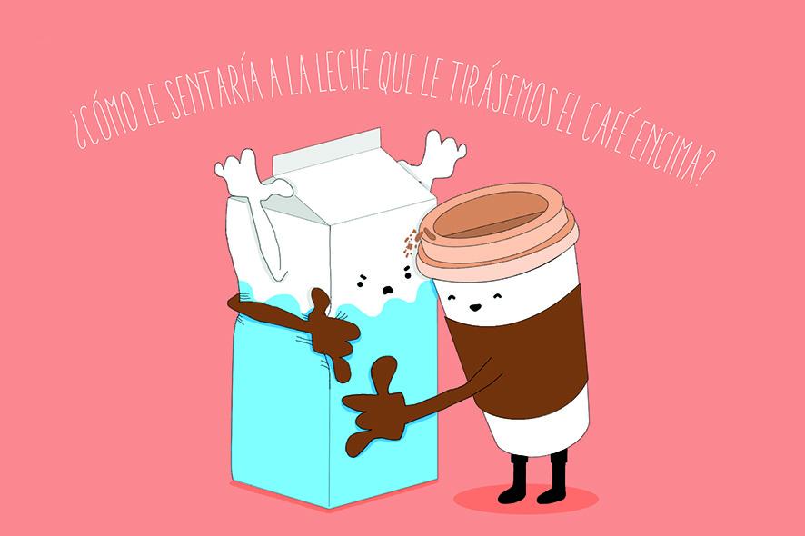 cafe con leche postales carta