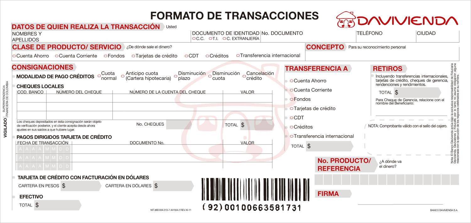 Formato Transacciones Davivienda